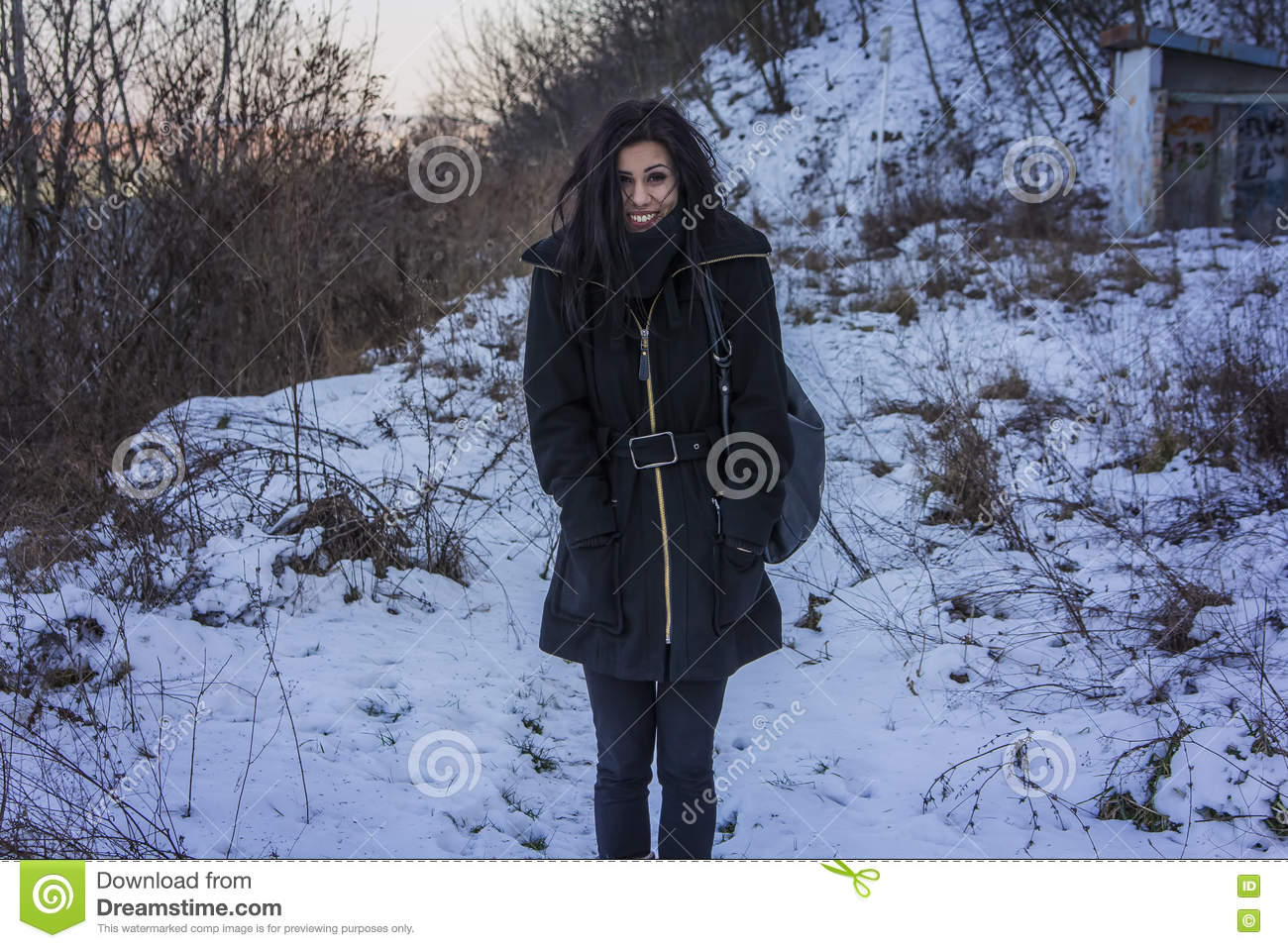 Freezing Cold Woman Cute Young Woman Freez...