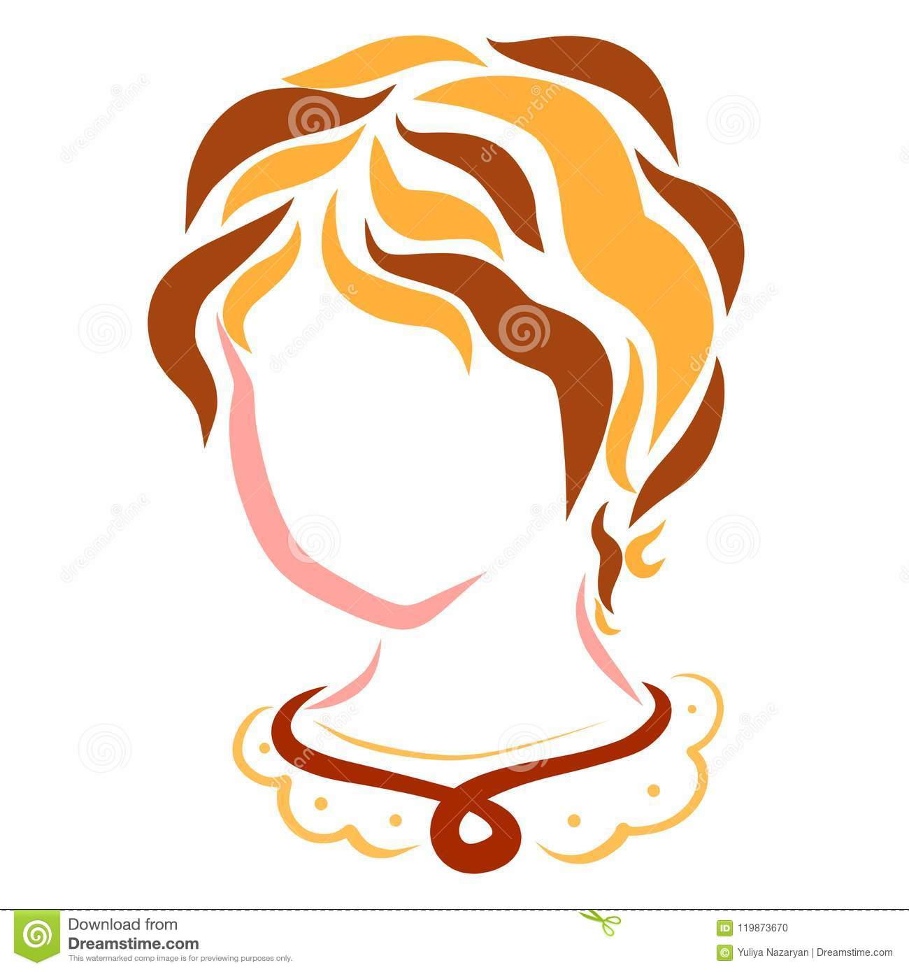 Cute young woman or girl, head, flowing lines