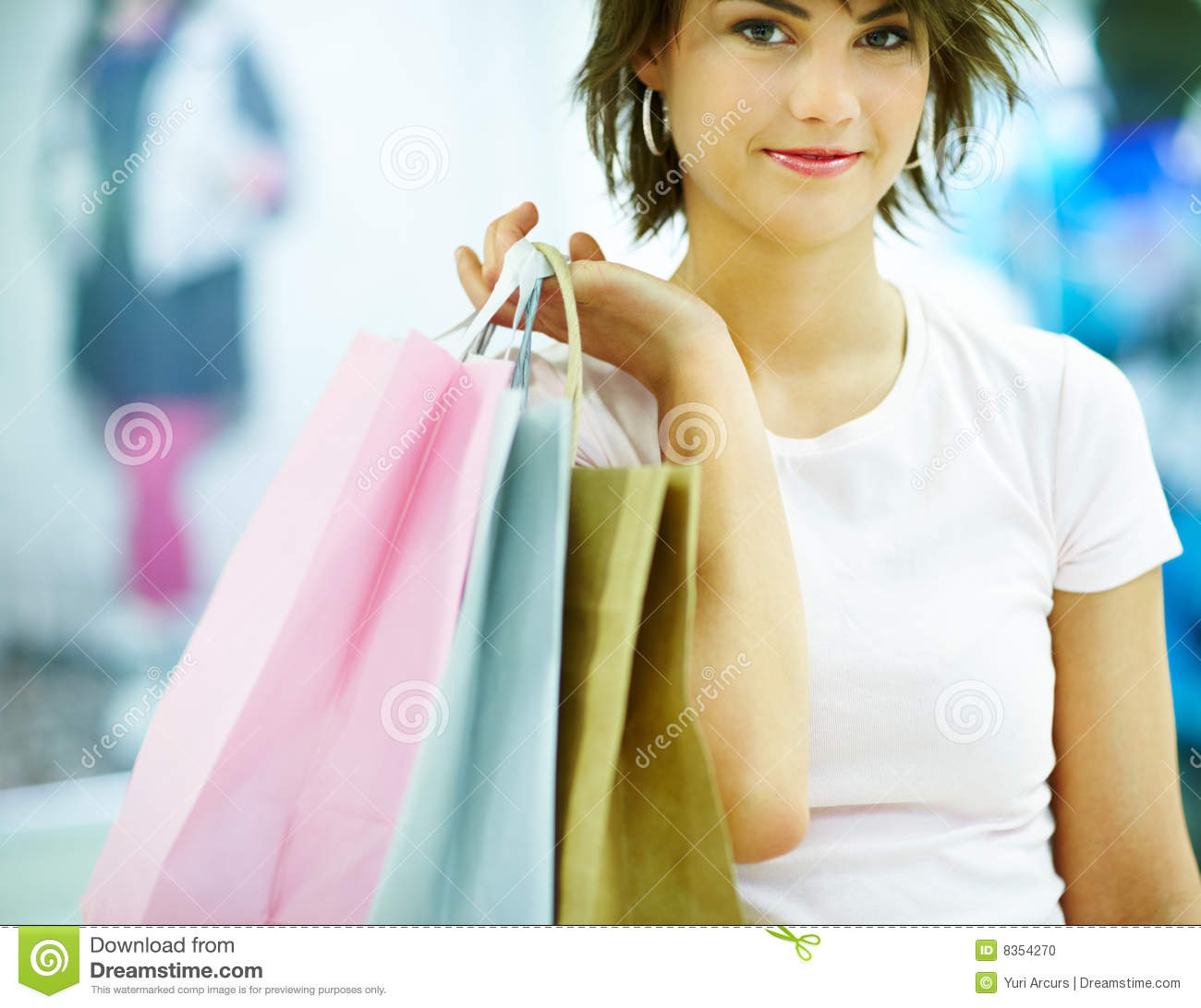 Beautiful Attractive Asian Woman Holding Shopping Bags Stock Photo - Image 33367596