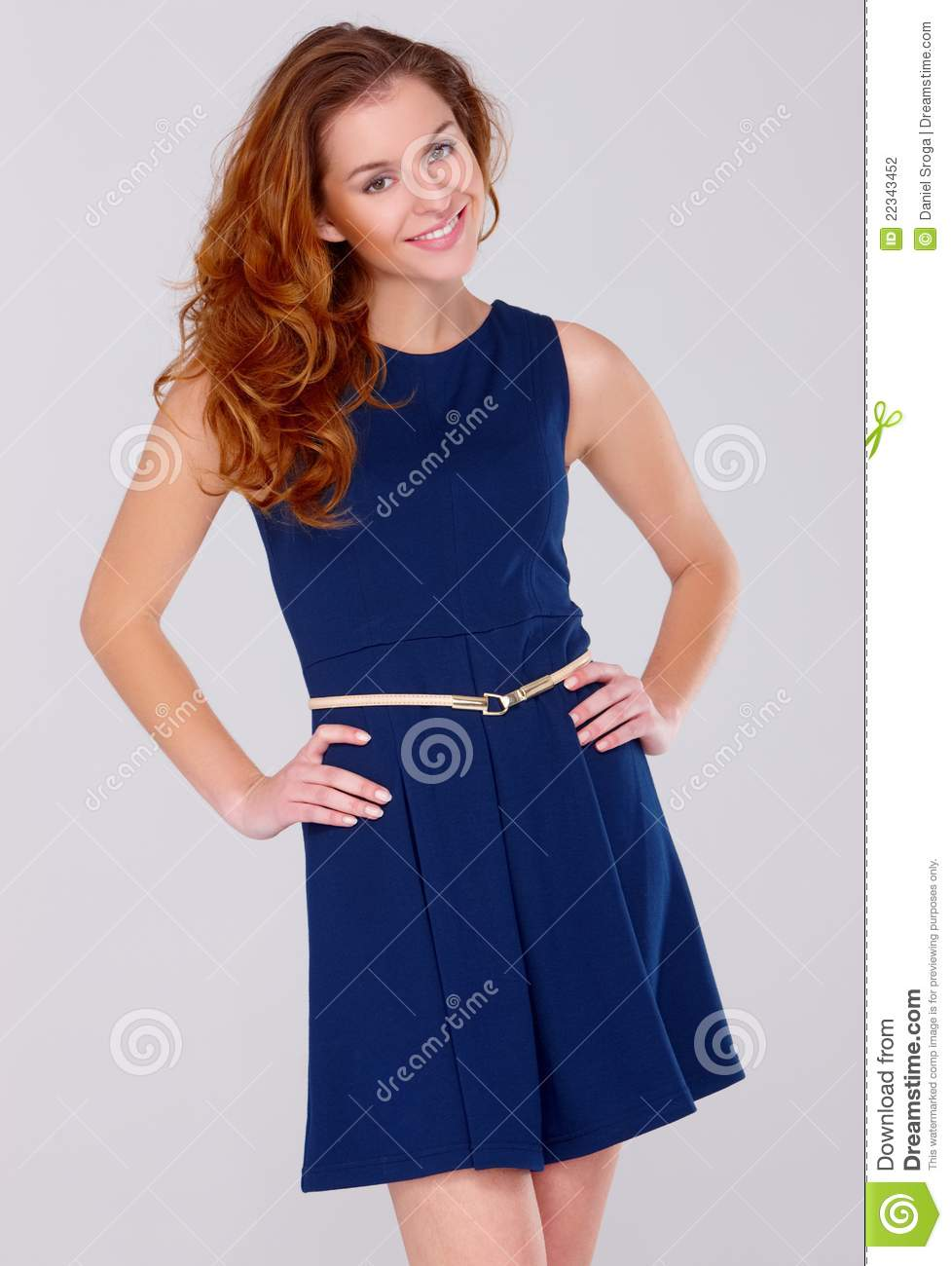 8673b0e33 Cute Young Woman In Navy Blue Dress On White Stock Photo - Image of ...