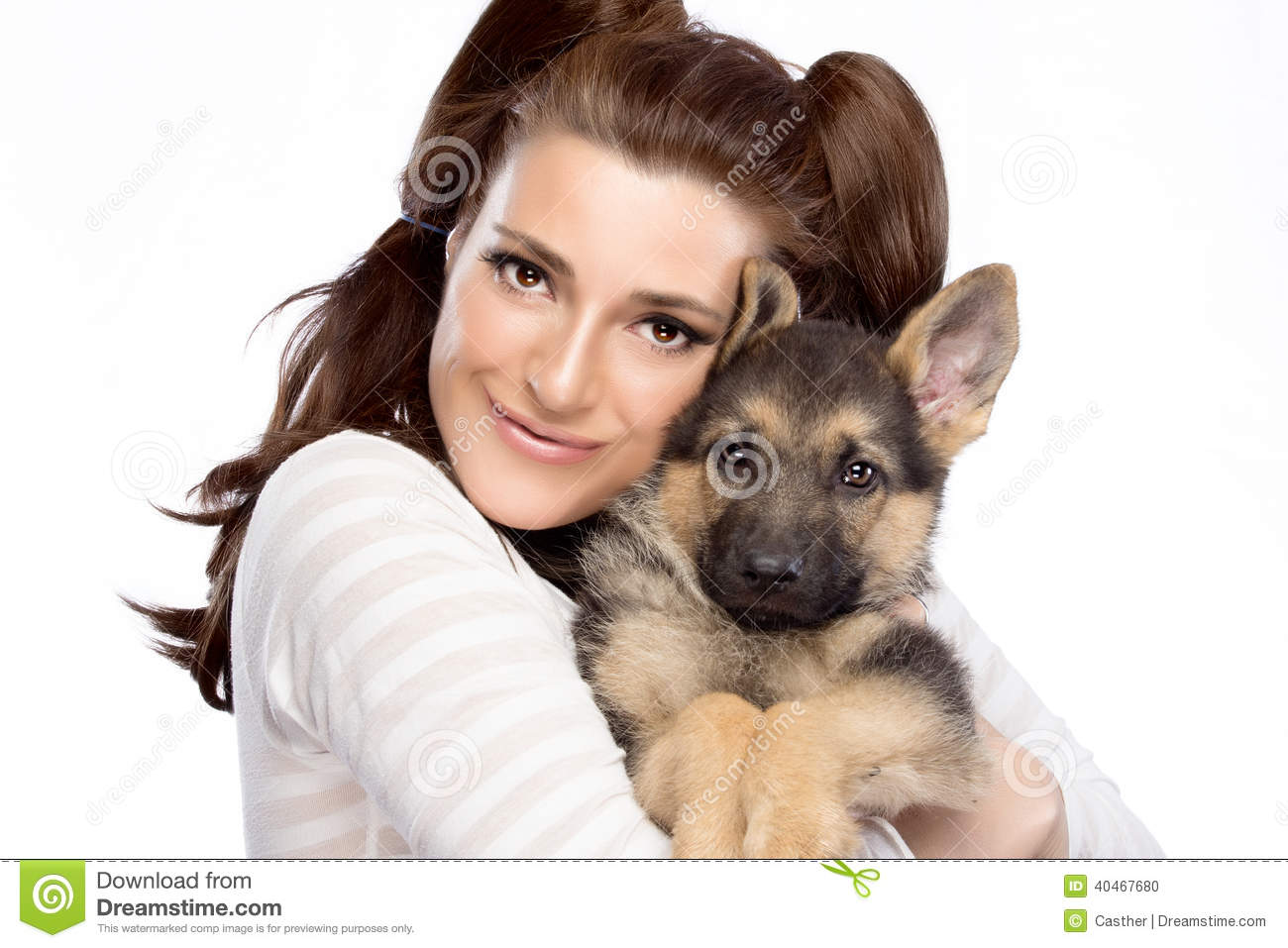 sexy woman with german shepherd