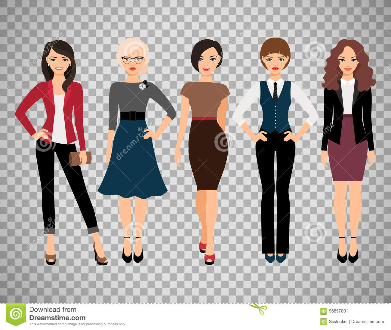 b2833461311 Cute young women in different style clothes vector illustration.  Businesswoman and office girl character isolated on transparent background