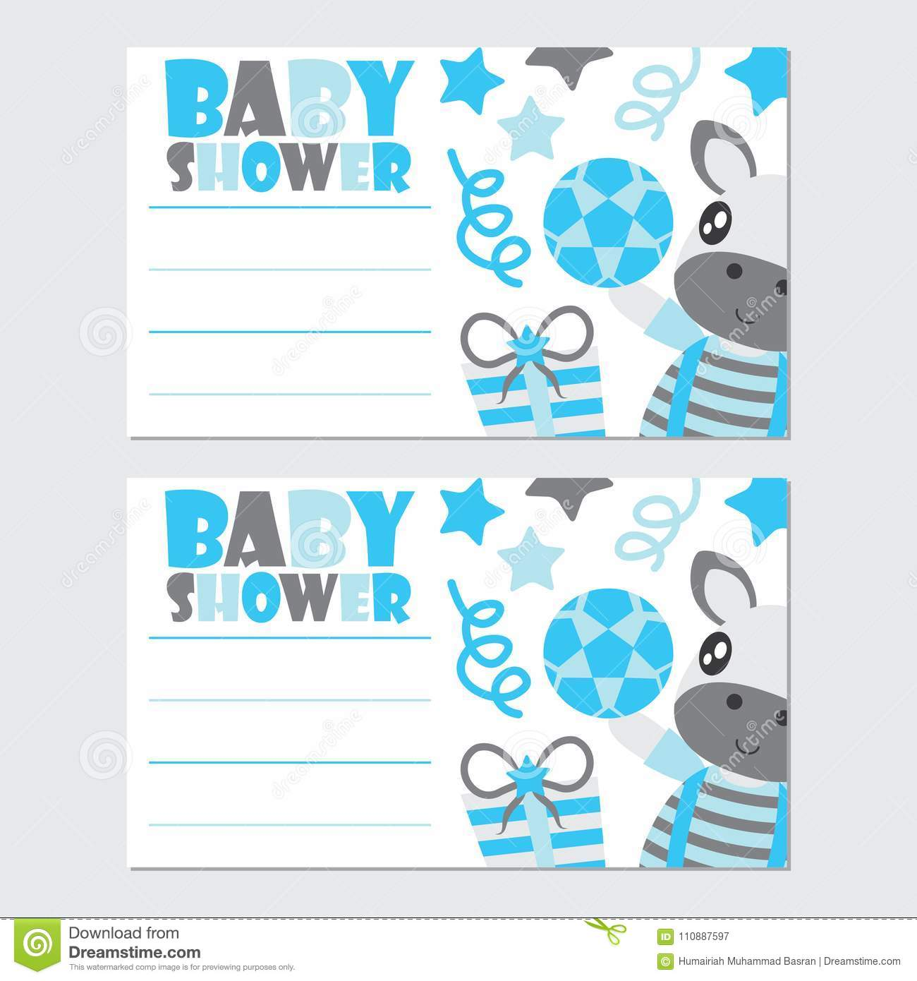 Cute Zebra Boy And Gifts Cartoon Illustration For Baby Shower Card