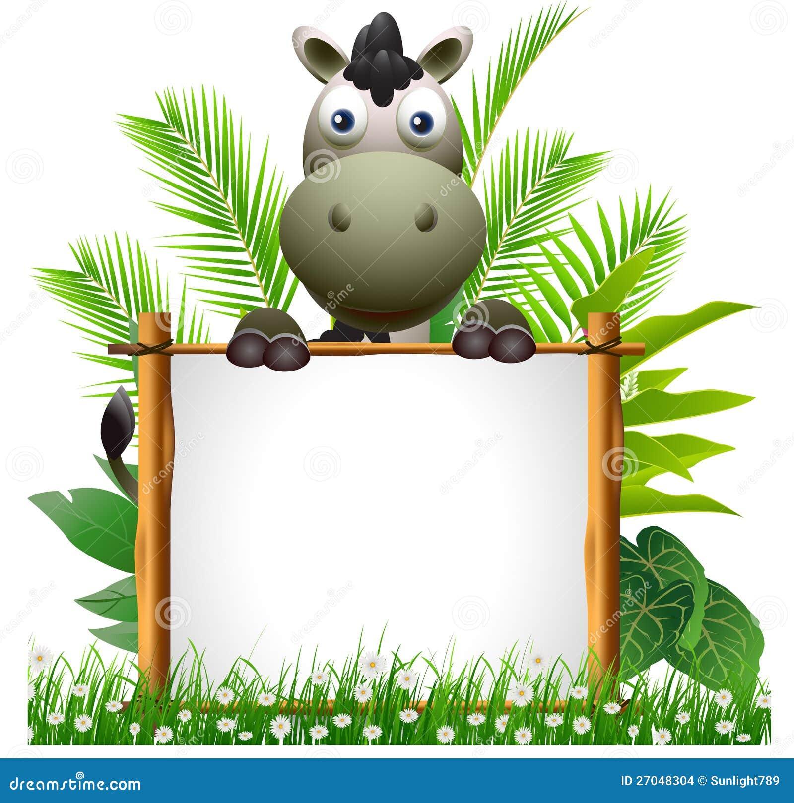 Safari jungle animals clip art and safari animals - Cute Zebra Cartoon With Blank Sign Stock Images Image