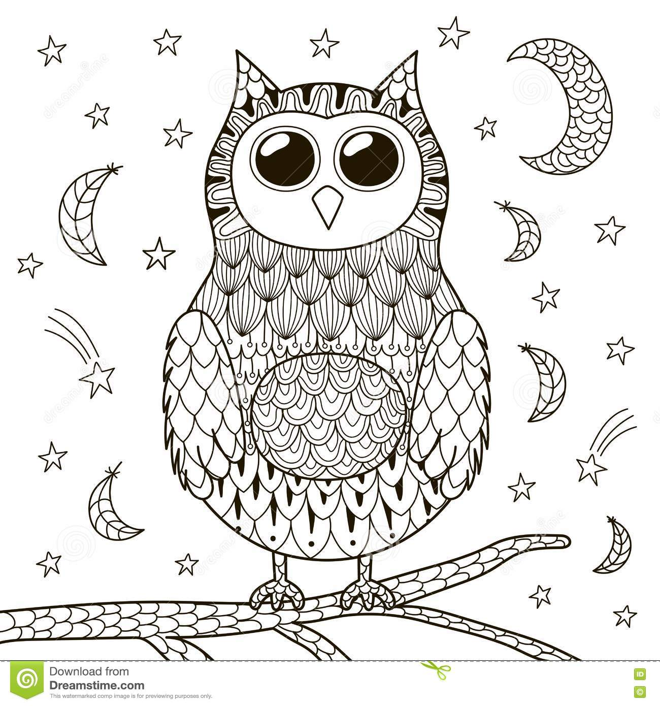 Cute Zentangle Owl At Night For Coloring Book Stock Vector ...