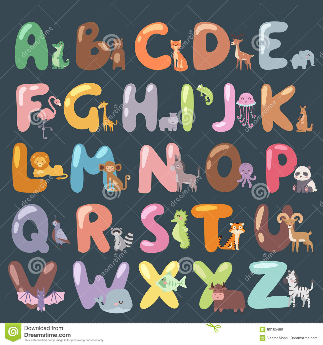 cute zoo alphabet with cartoon animals isolated and funny letters wildlife learn typography cute