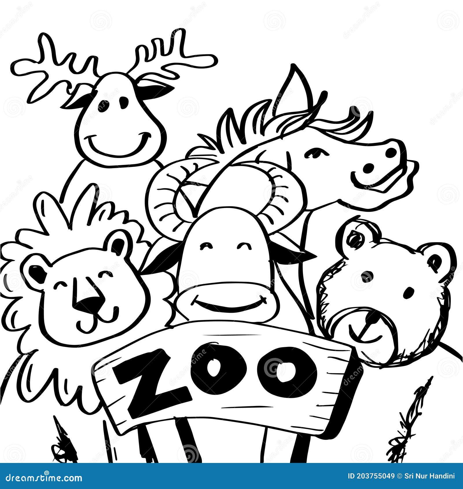 Zoo Animals Black White Stock Illustrations 12 003 Zoo Animals Black White Stock Illustrations Vectors Clipart Dreamstime