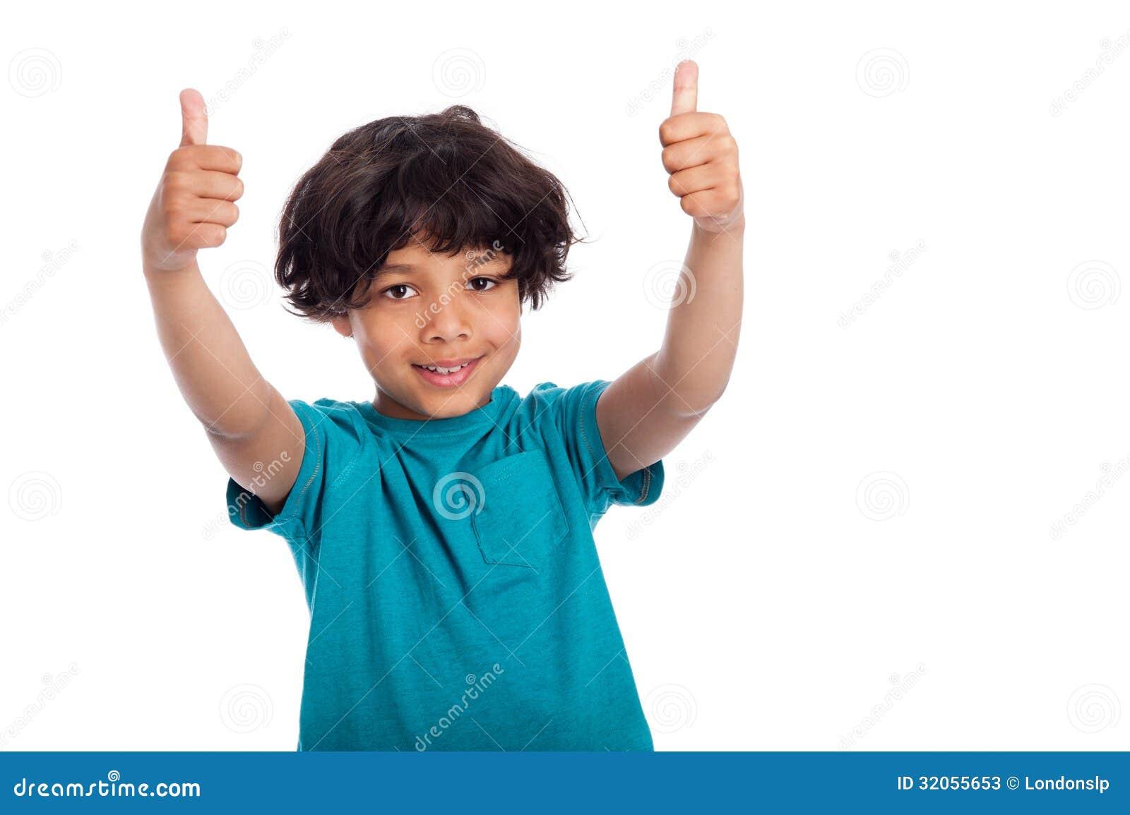 Carribean Mixed Beauty: CuteMixed Race Boy With Thumbs Up Stock Photos