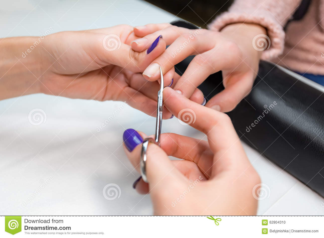 Cuticle Clipping, Cutting Skins Manicure Treatment Stock Photo ...