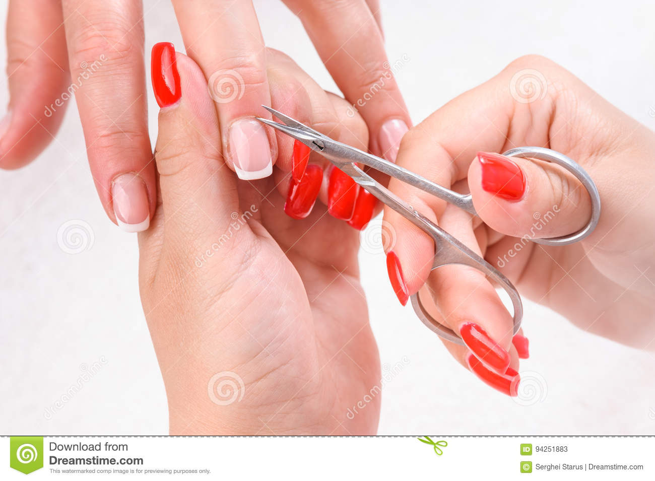 Cuticles Cutting With Scissors Stock Image - Image of luxury, hands ...