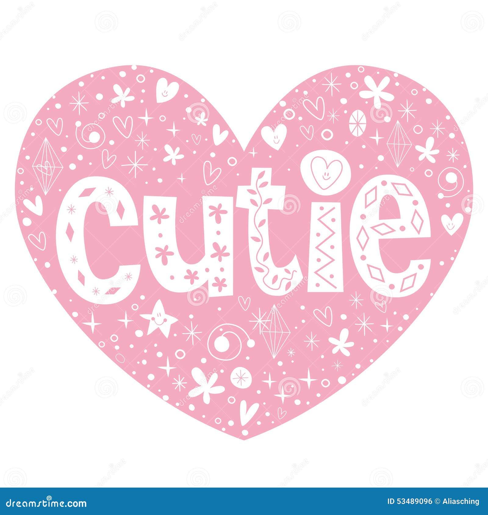 Cutie hart gestalte gegeven het van letters voorzien ontwerp
