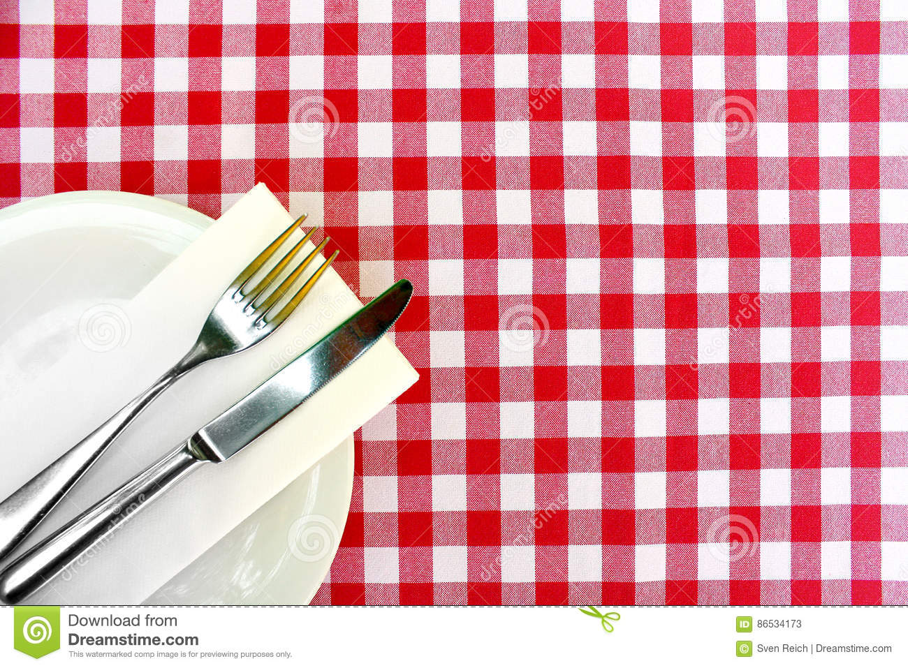cutlery on a checkered table cloth stock image image of menu meal