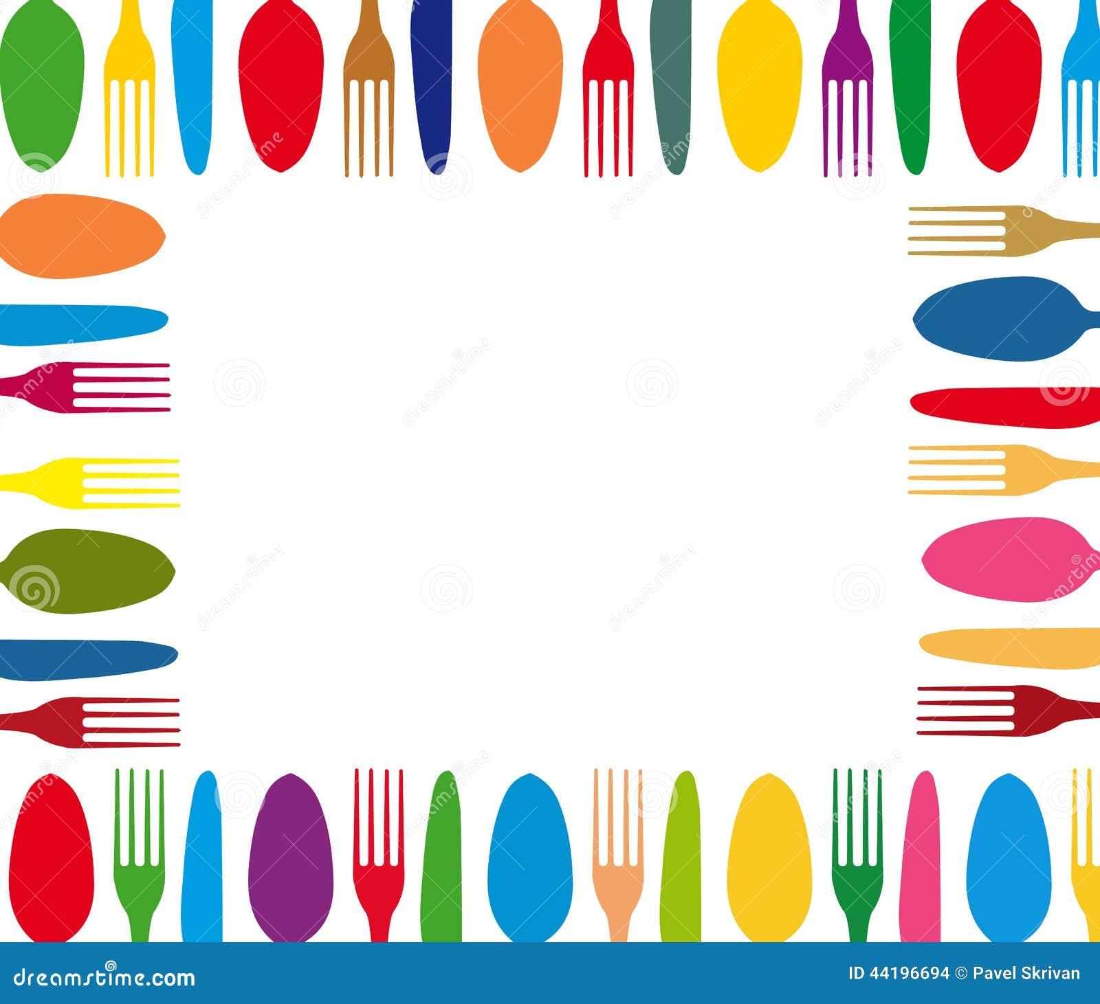 Cutlery Color Background Menu Stock Illustration - Image: 44196694
