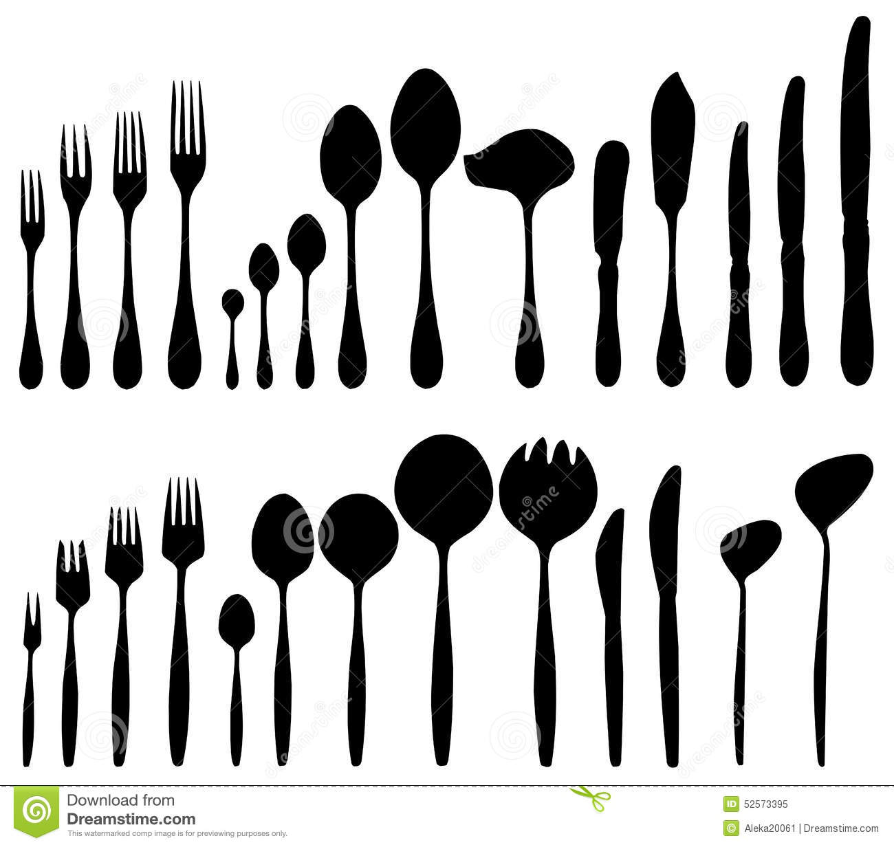 Cutlery Forks Spoons Knives Stock Vector