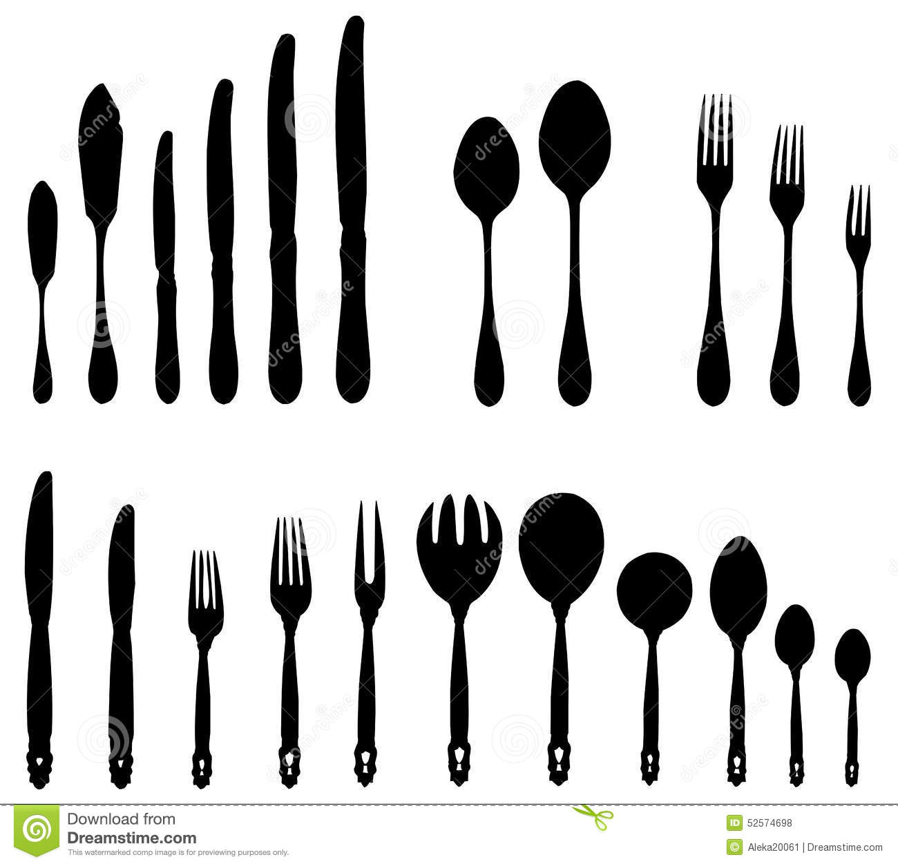 Cutlery - forks spoons knives. Cutlery of various sizes and for various purposes  sc 1 st  Dreamstime.com & Table Manners Stock Illustrations u2013 32 Table Manners Stock ...