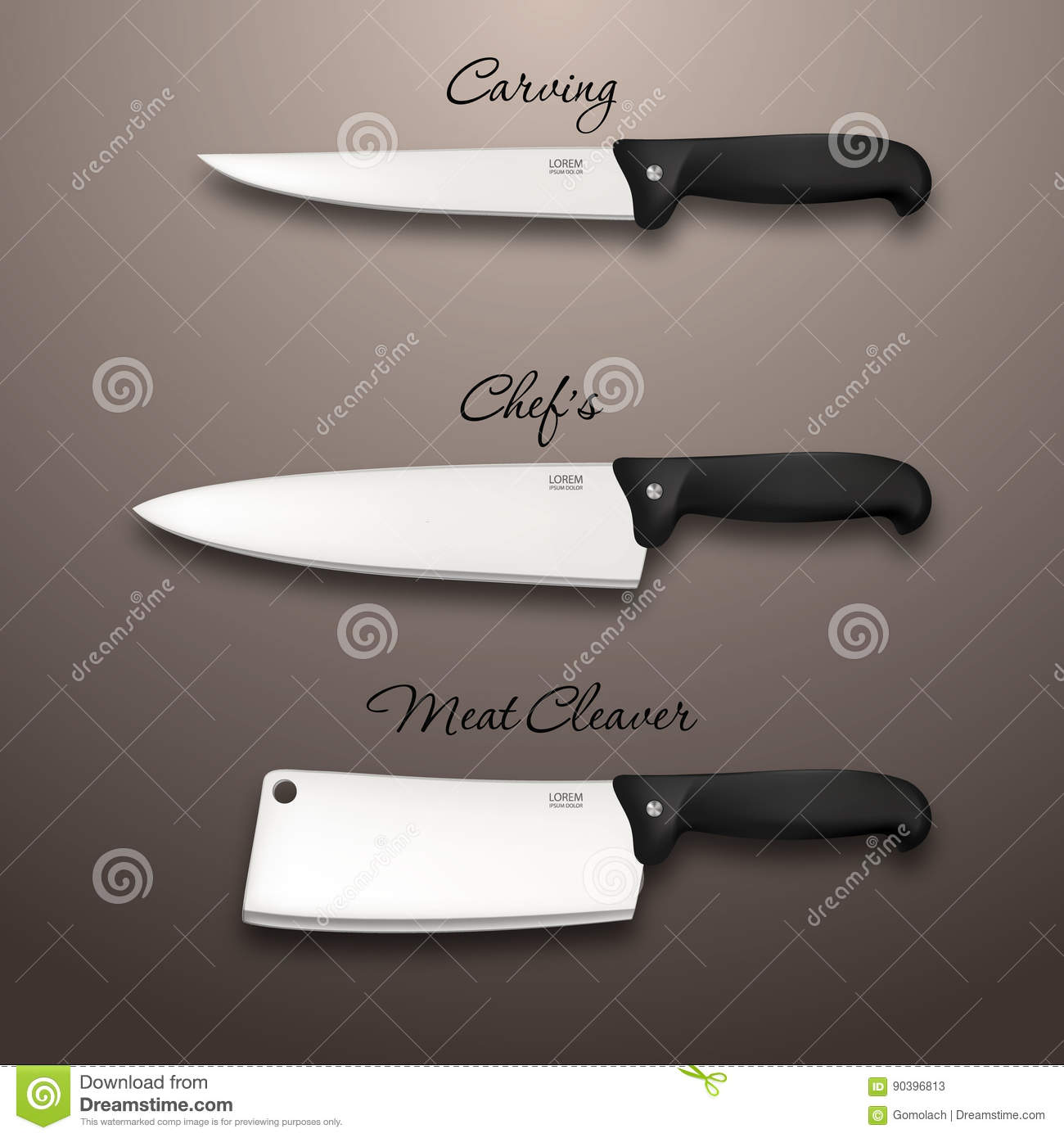 cutlery icon set vector realistic kitchen knives design template