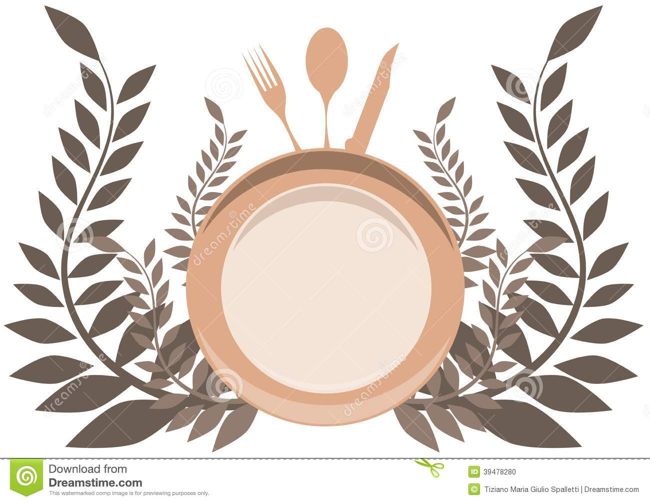 Cutlery Logo With Floral Decoration Isolated Stock Vector