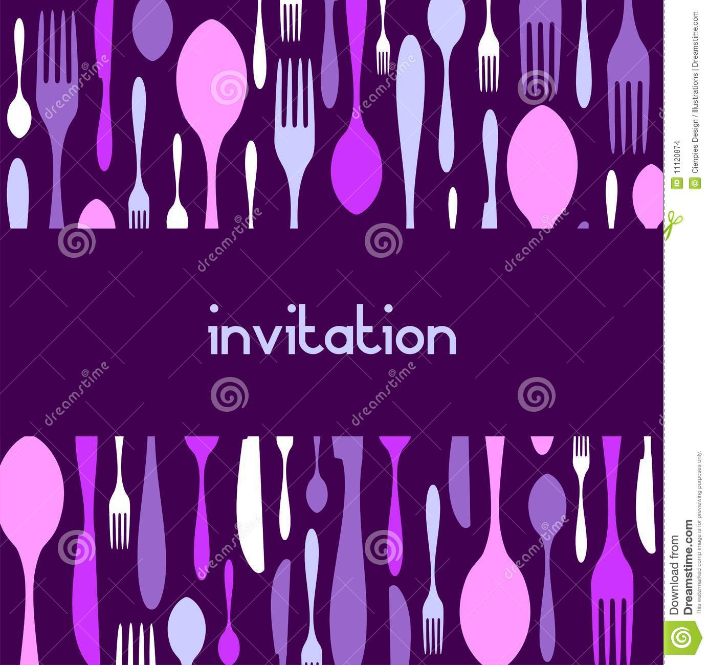 Cutlery Pattern Invitation Violet Background Stock Vector