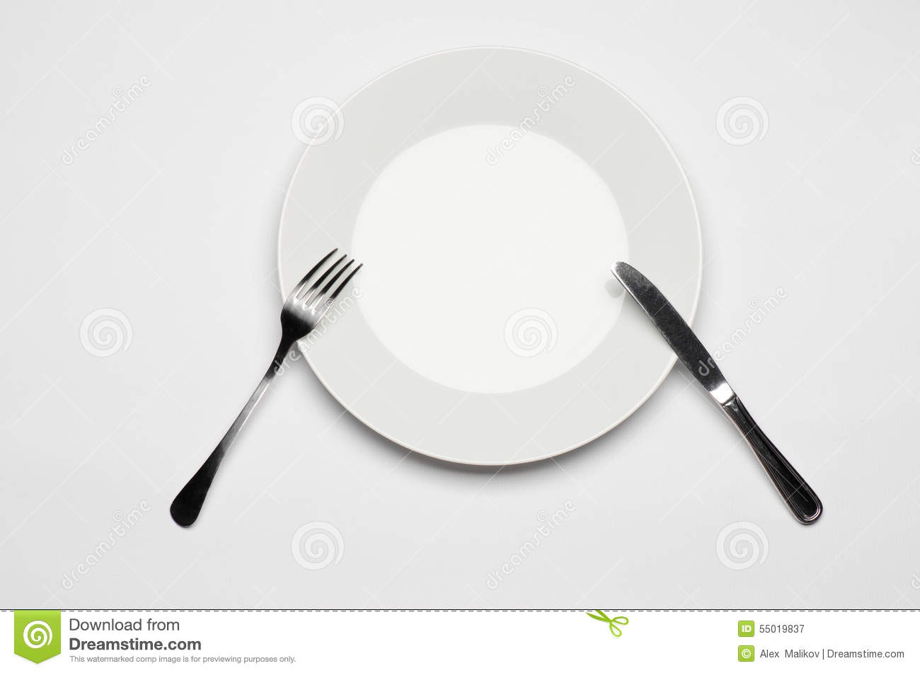 Cutlery And Restaurant Topic Fork Knife And White Plate