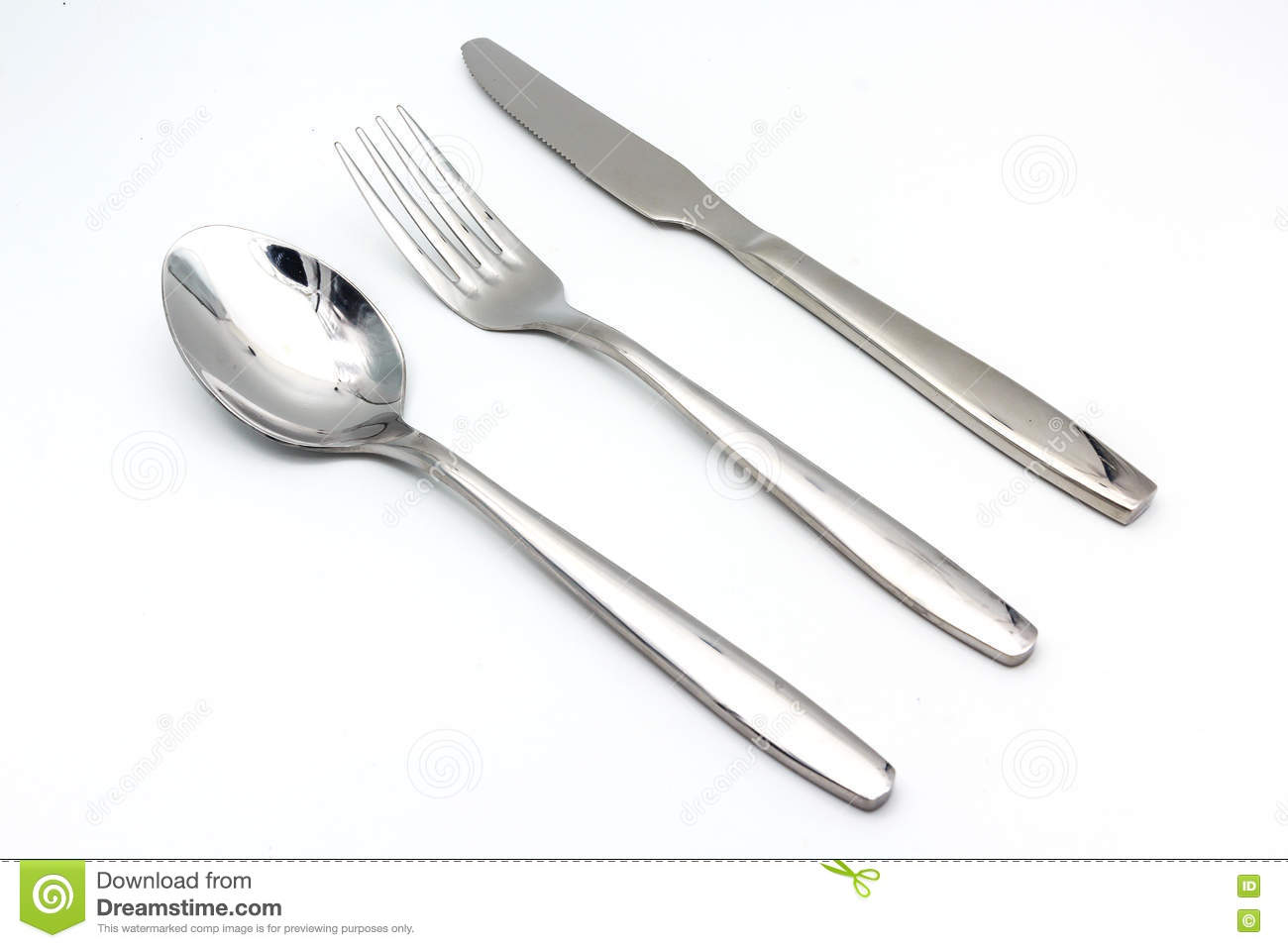 Line Drawing Knife And Fork : Cutlery set of fork knife and spoon isolated on a white