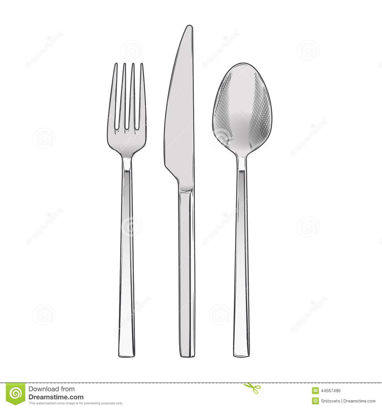 Cutlery Set Of Fork, Knife And Spoon Isolated On A White ...