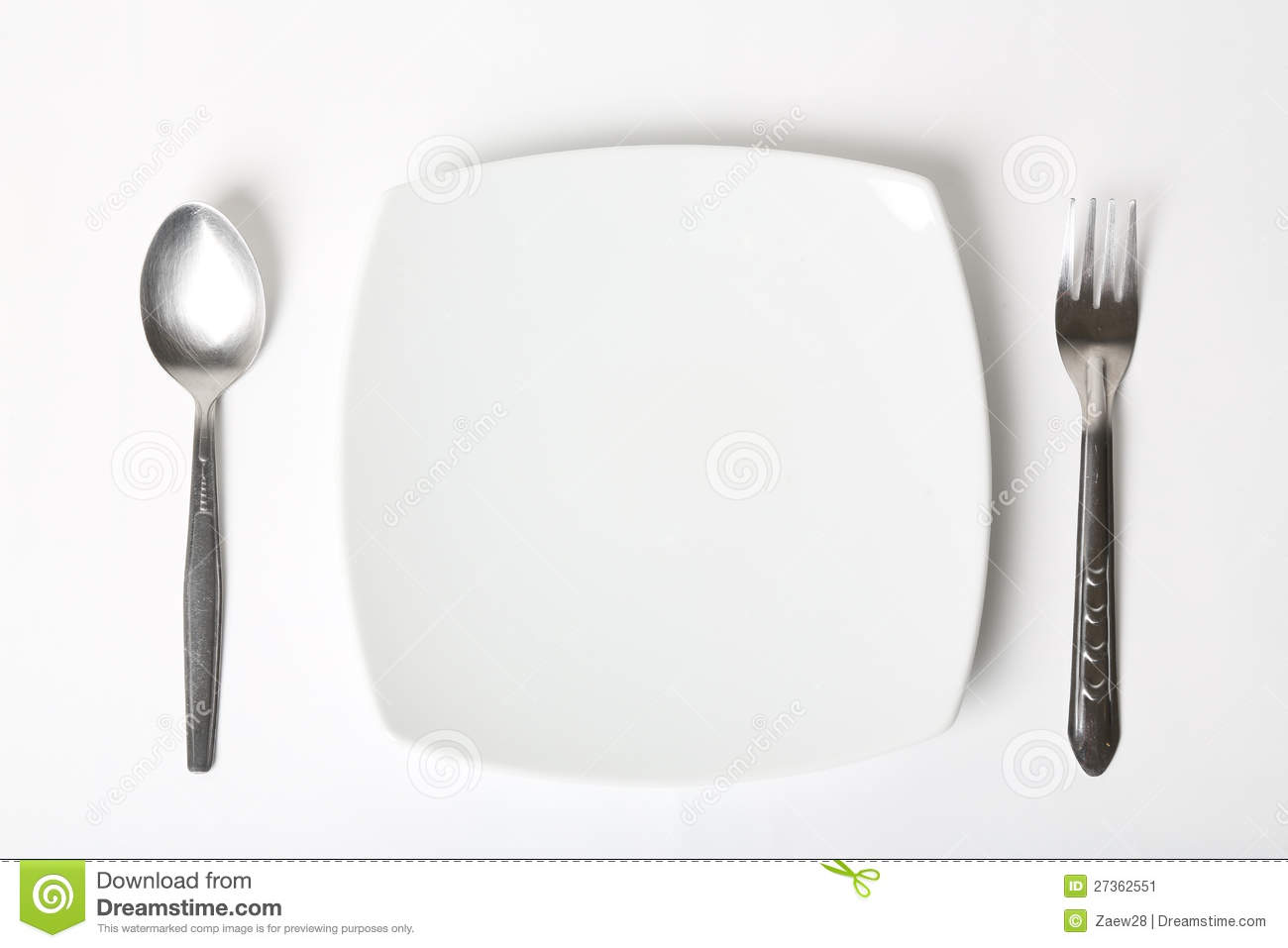 Cutlery Set With Plate On White Background Stock Image