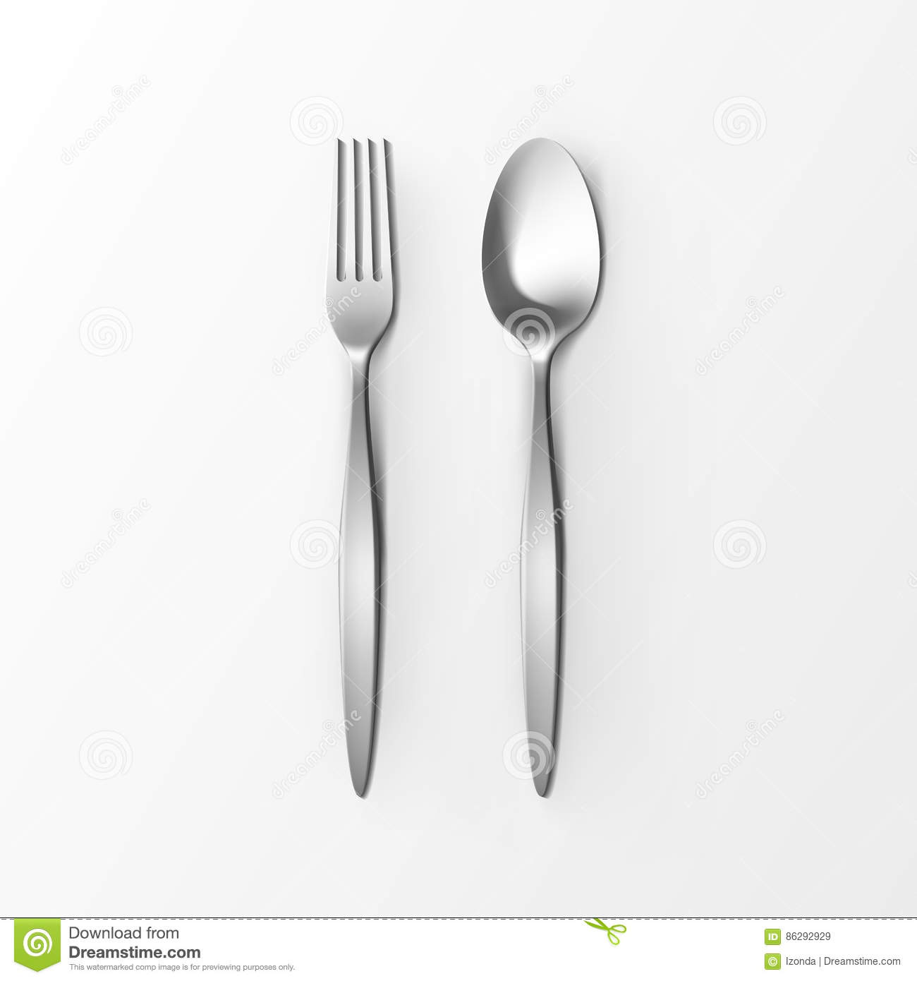 Table Setting Background cutlery set of silver fork and spoon top view isolated on white