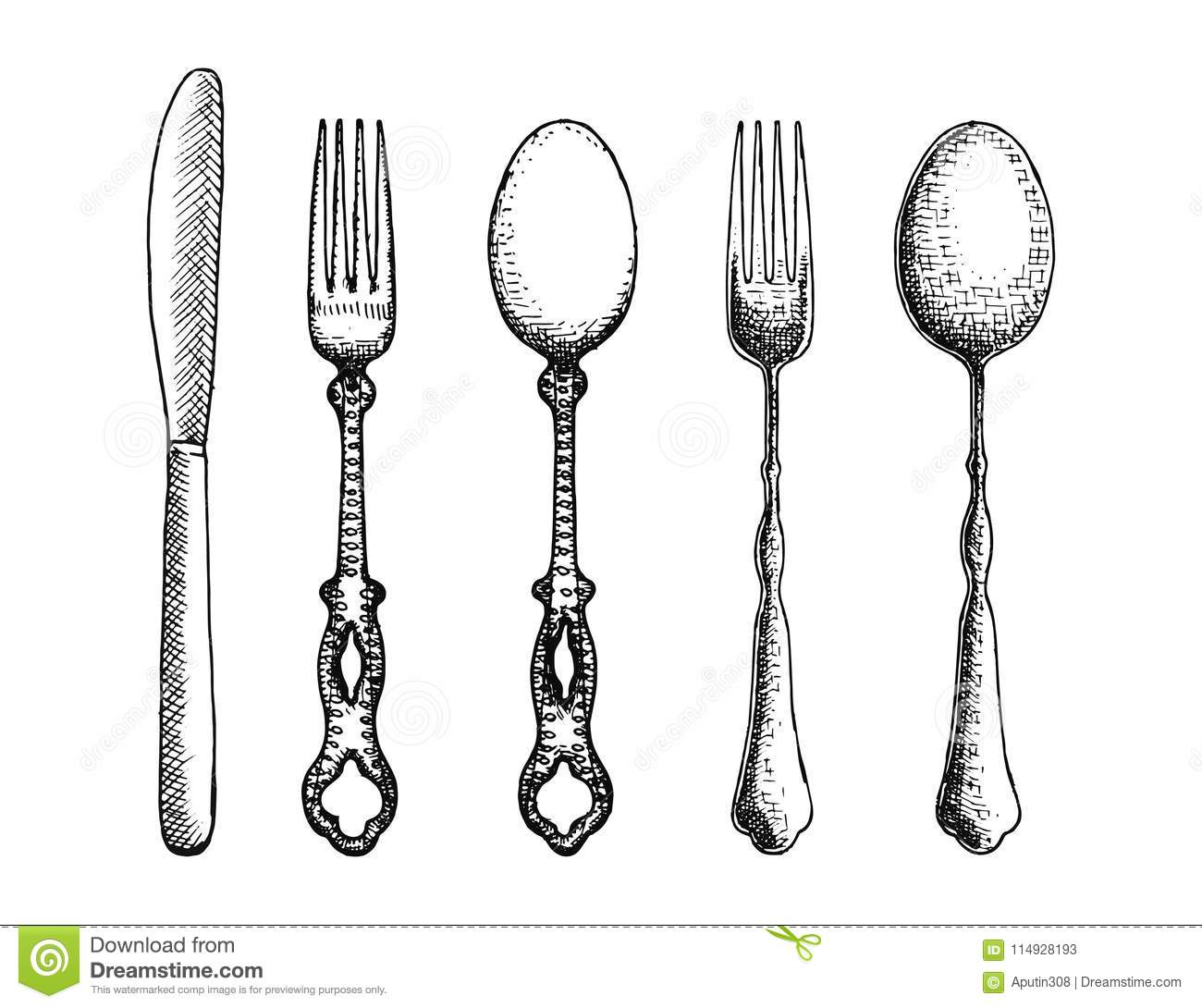 Cutlery Set Of Spoon Forks And Knife Vector Stock Vector