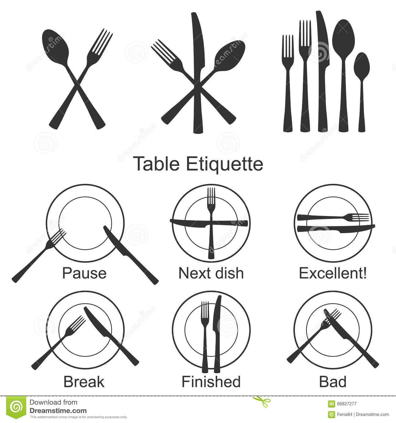 cutlery and signs of table etiquette stock vector. Black Bedroom Furniture Sets. Home Design Ideas