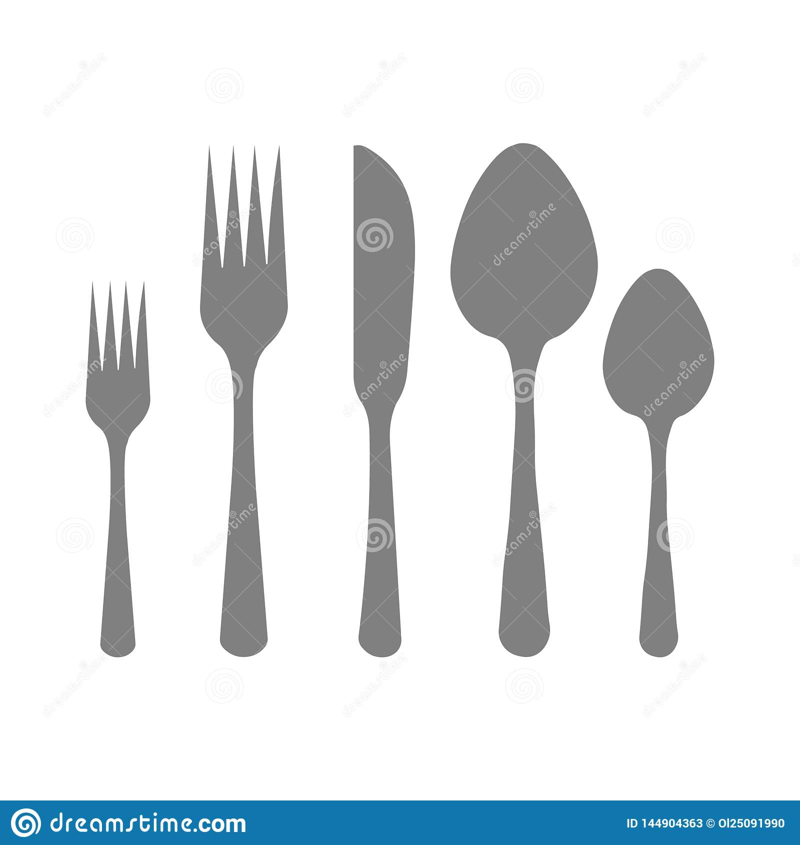 Cutlery silhouettes. Spoon, knife, forks