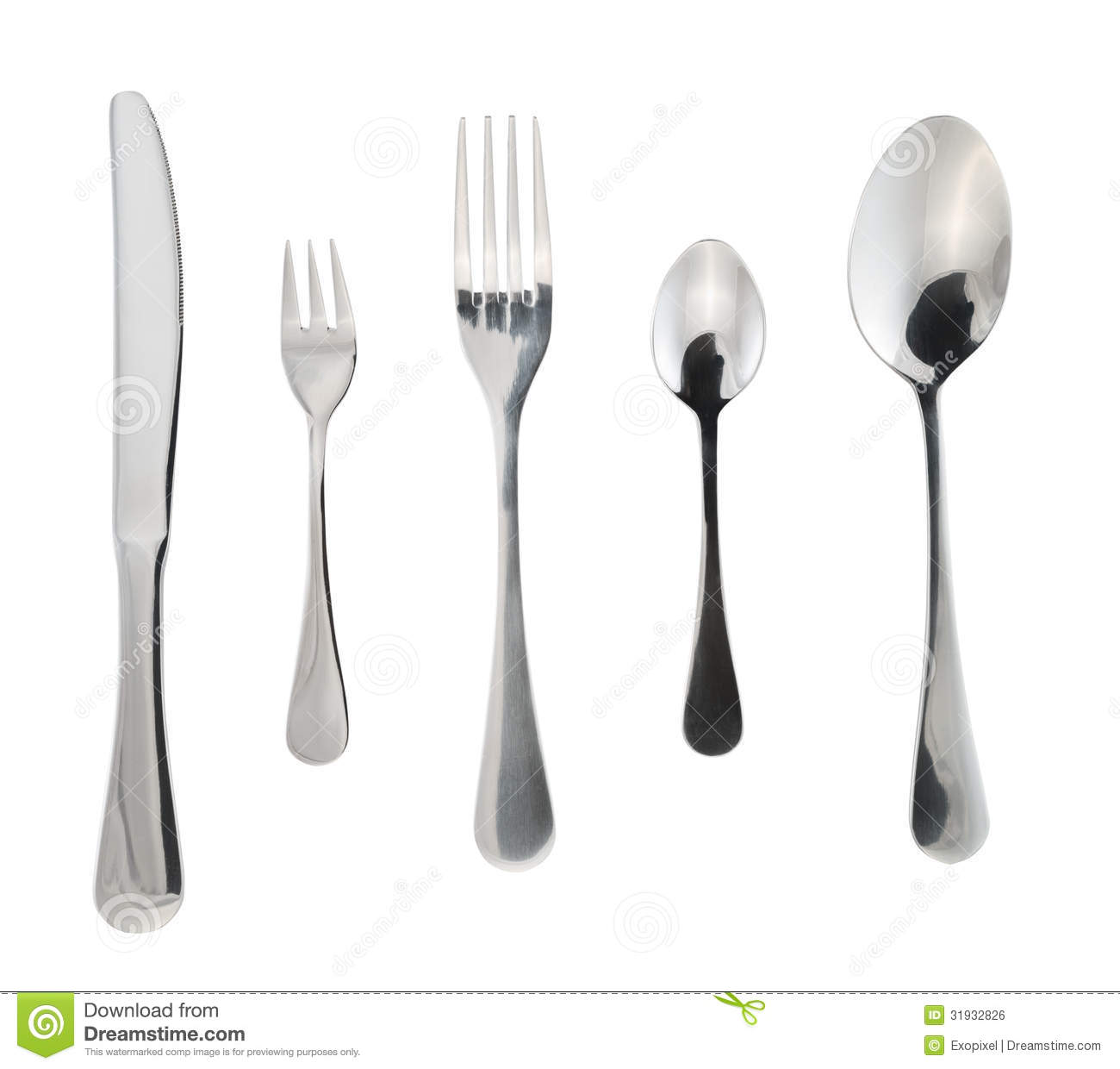Cutlery Silverware Or Flatware Isolated Royalty Free Stock