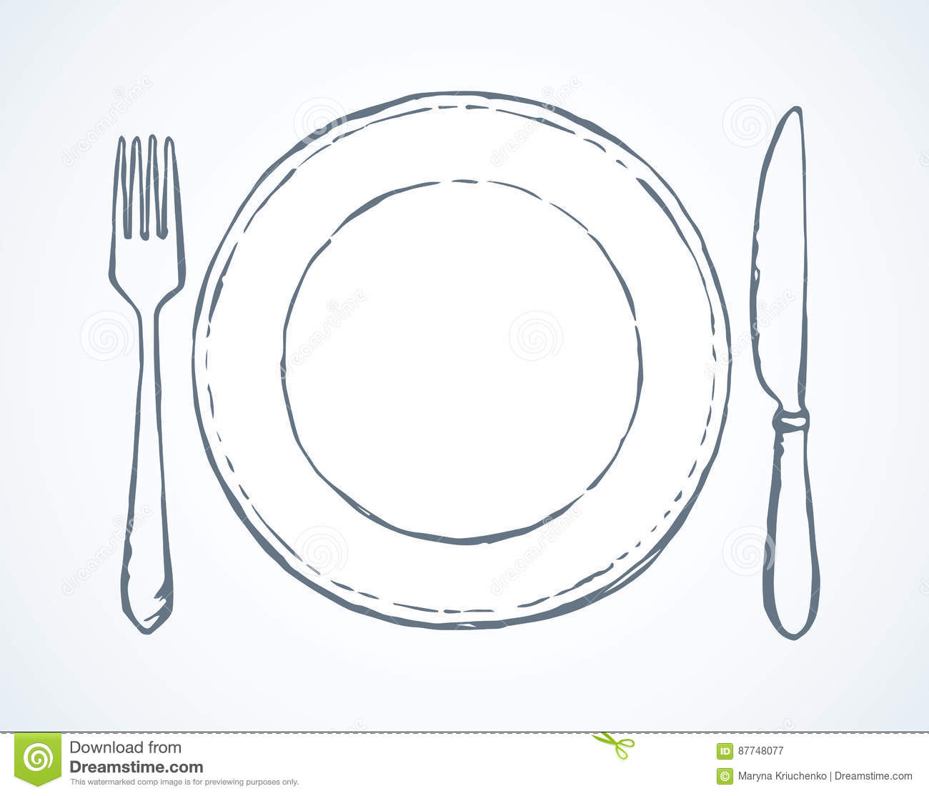 Cutlery Vector Drawing Stock Image 87748077