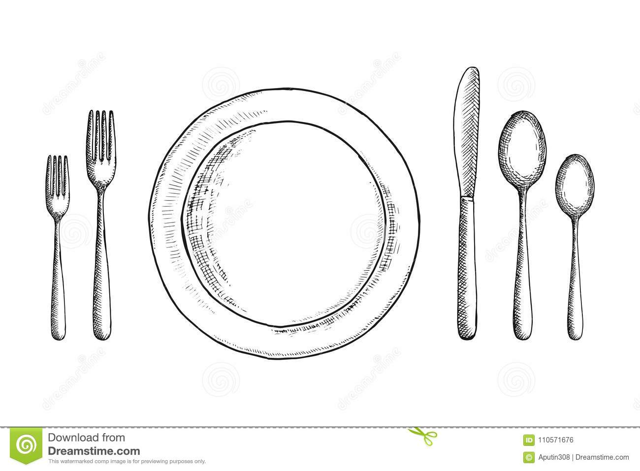 Cutlery vector sketch set. spoon fork and knife near the plate. table setting. Restaurant vintage.  sc 1 st  Dreamstime.com & Cutlery Vector Sketch Set. Spoon Fork And Knife Near The Plate ...