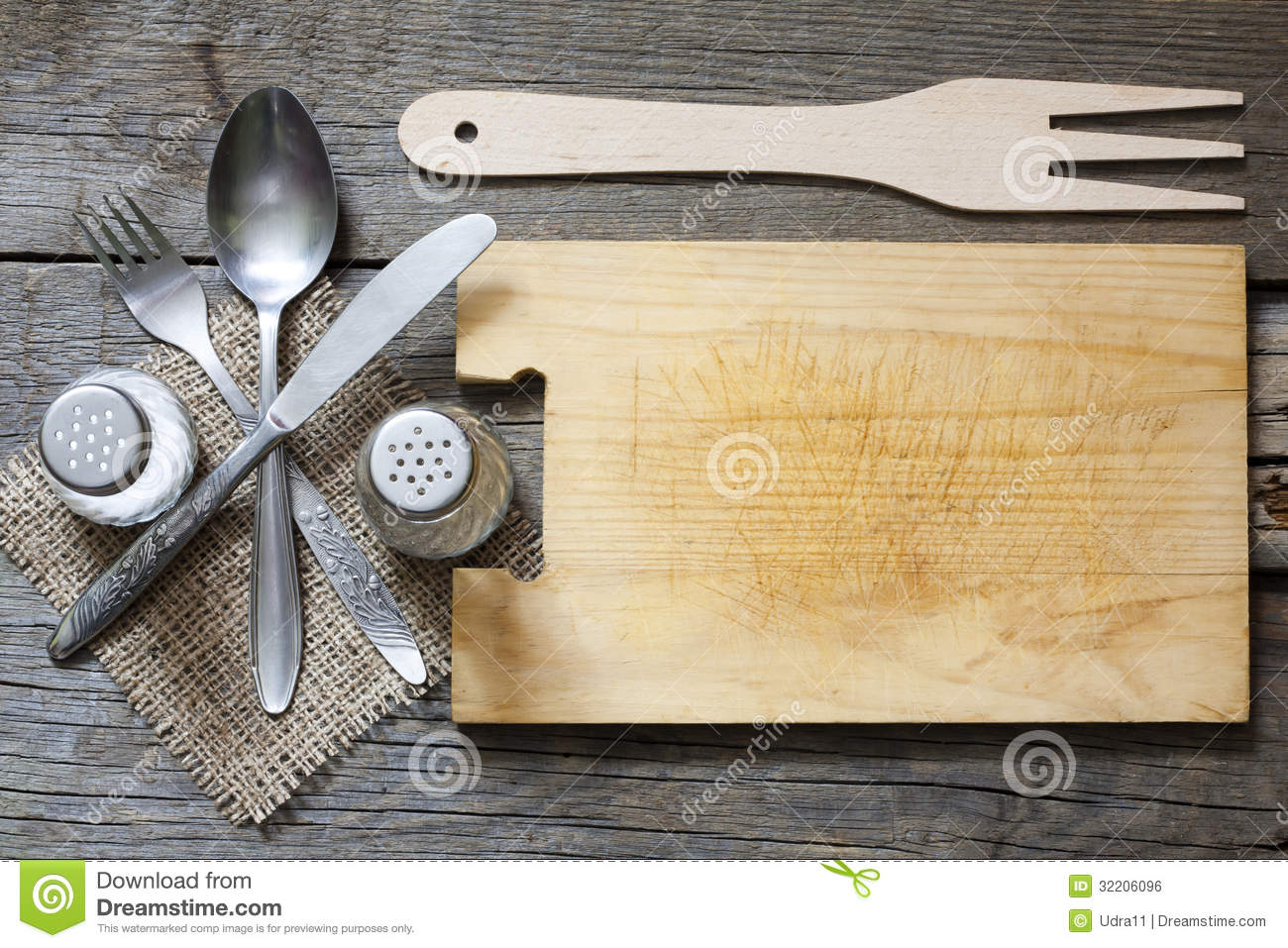 Cutlery And Vintage Empty Cutting Board Royalty Free Stock