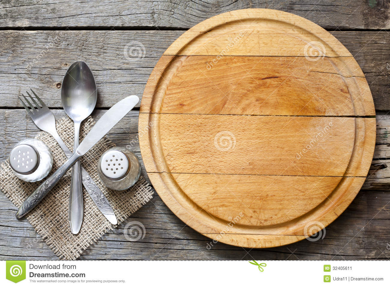 Cutlery And Vintage Empty Cutting Board Food Background