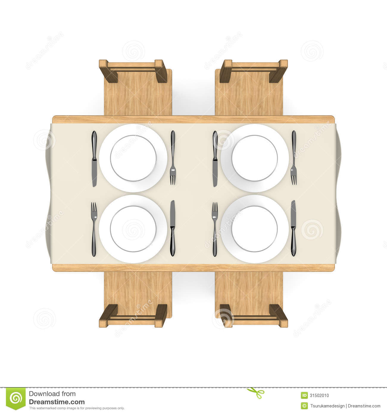 Cutlery On Wooden Dining Table Top View Stock Photo