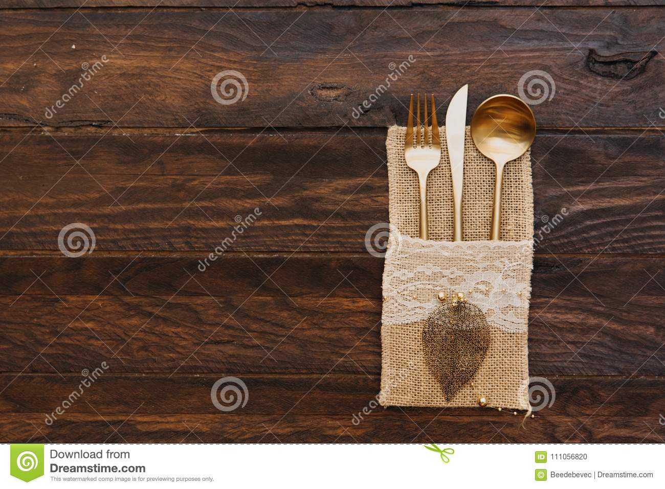 Cutlery Wrapped In Burlap Rustic Wedding Set On Wooden Background Stock Photo Image Of Decoration Food 111056820