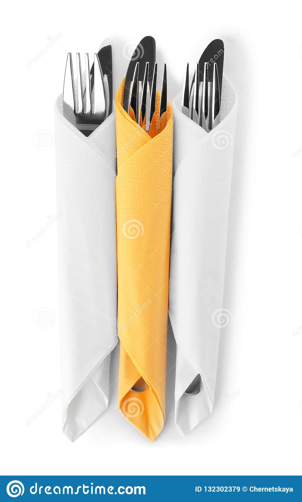 Cutlery Wrapped In Paper Napkins On White Background Stock Image Image Of Napkins Folded 132302379