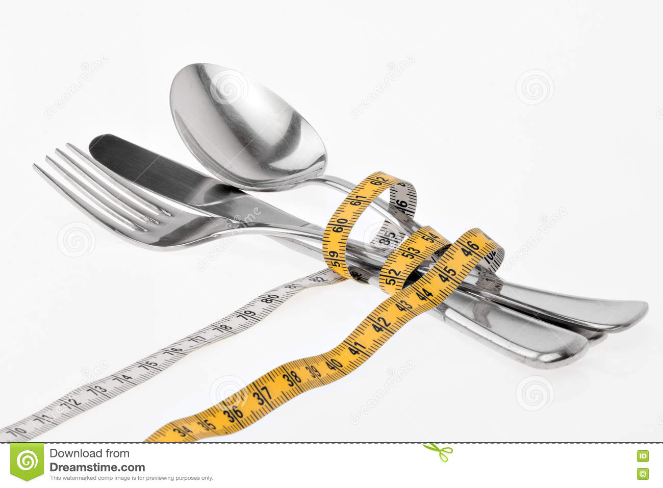 Cutlery Wrapped With A Tape Measure Symbol For A Diet Stock Image