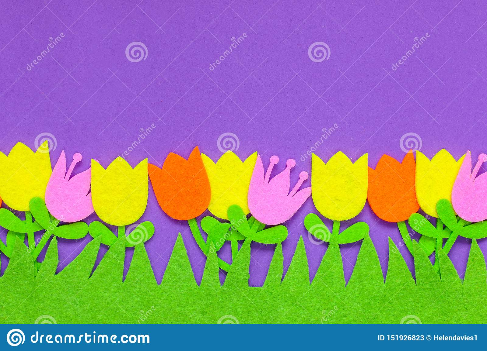 Brightly colored felt tulip flowers on a plain background