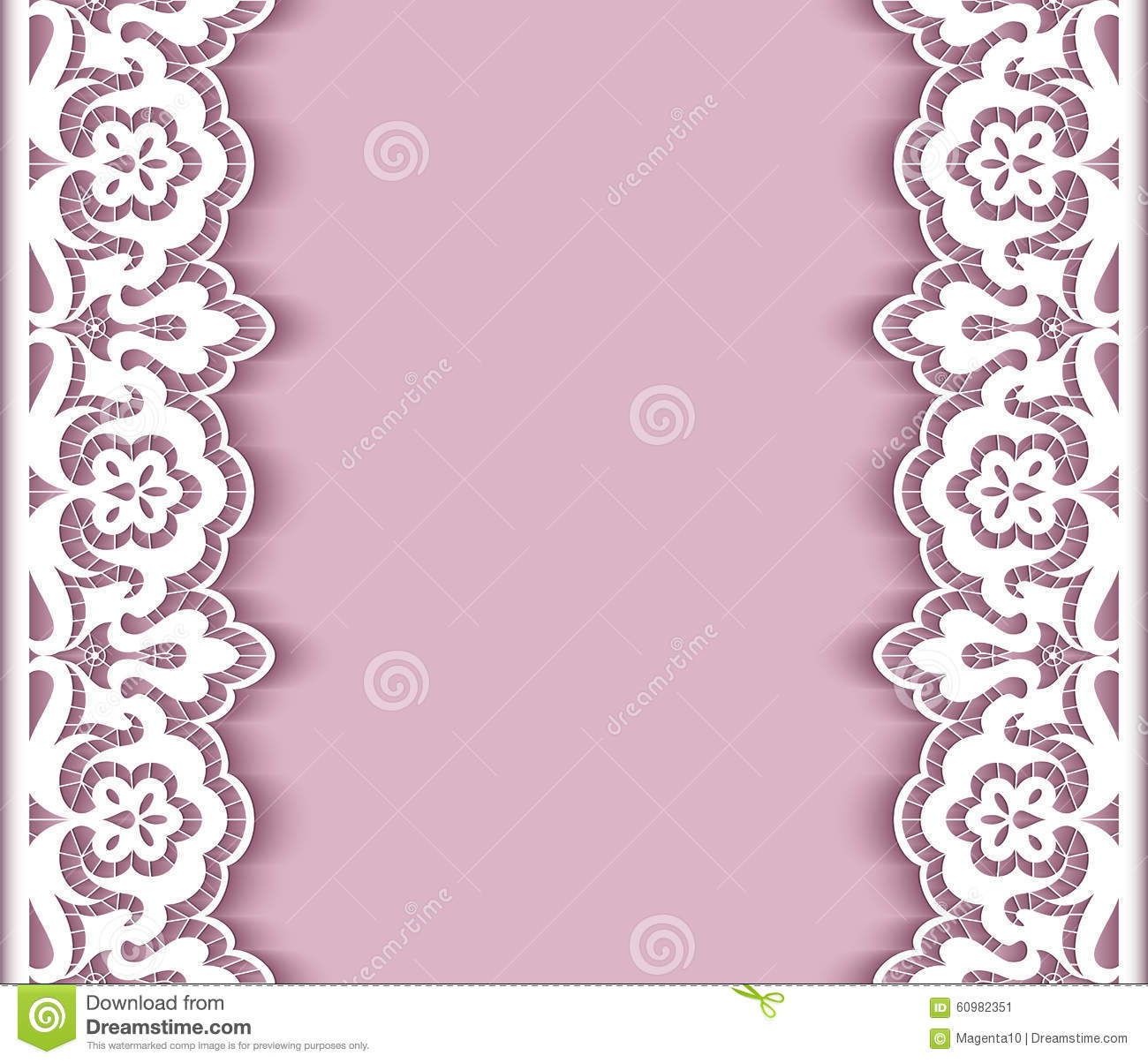 Wedding Boarder Paper: Cutout Paper Background With Lace Borders Stock Vector