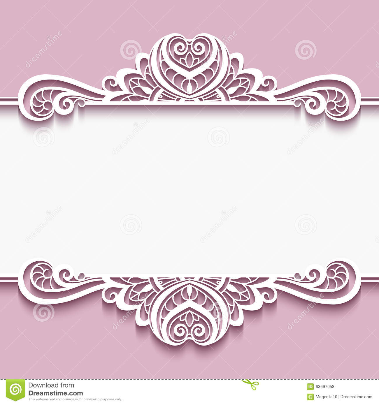 cutout paper frame with lace border ornament stock vector