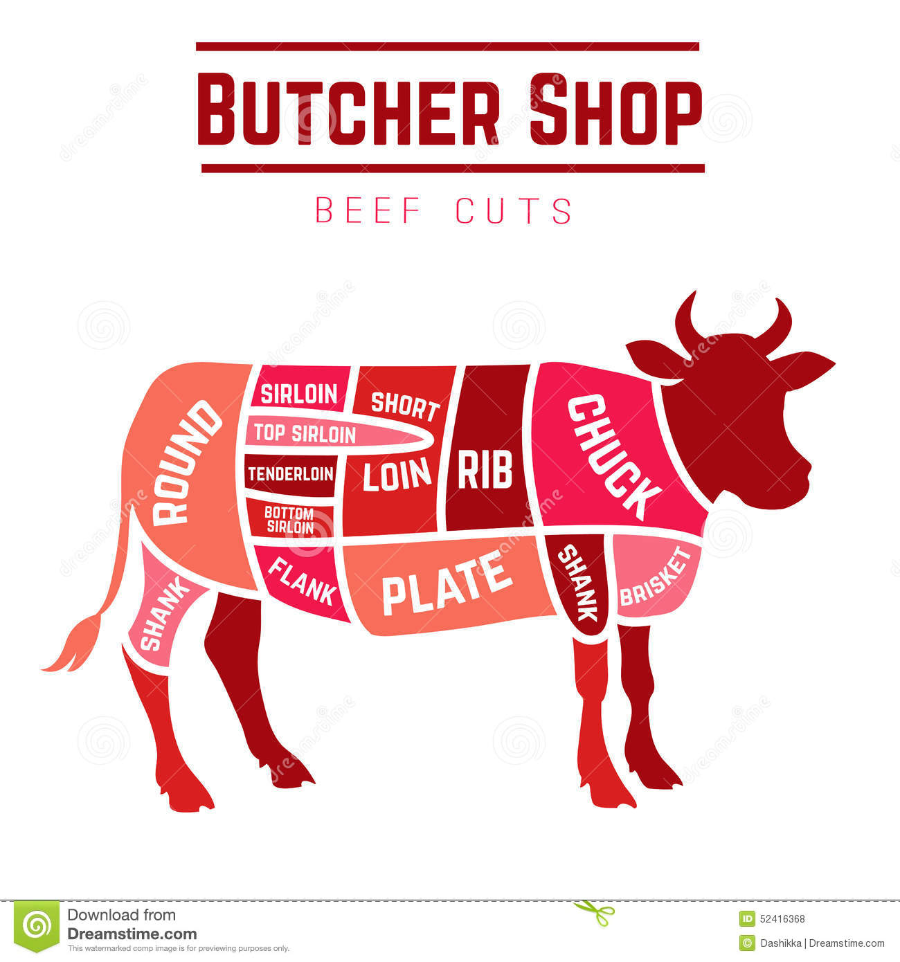 cuts of beef diagram stock vector image 52416368 : beef diagram - findchart.co