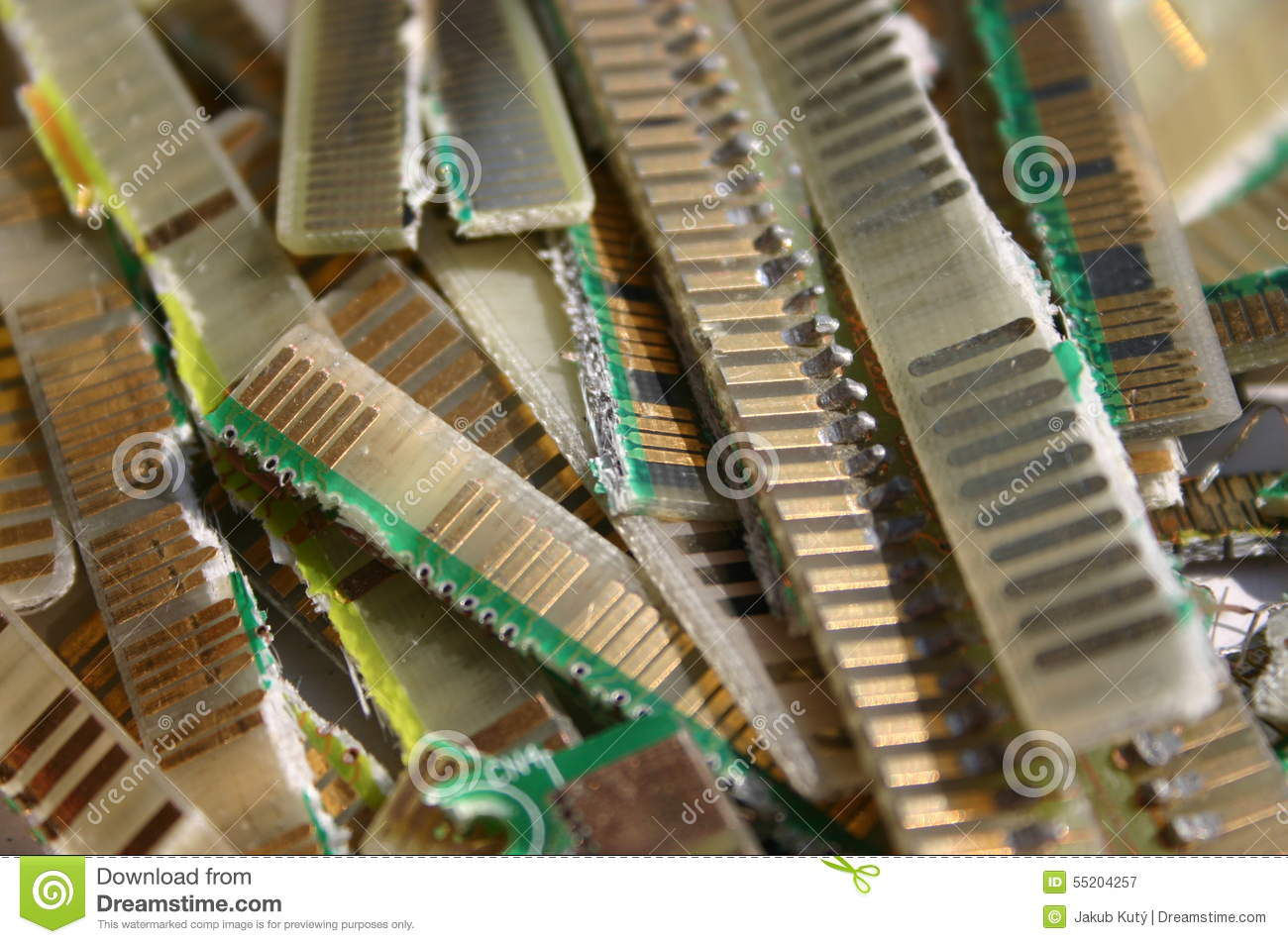 Cutted Contacts From Printed Circuit Boards Stock Image Of Electronics Scrap Recycling Pictures E Waste Gold