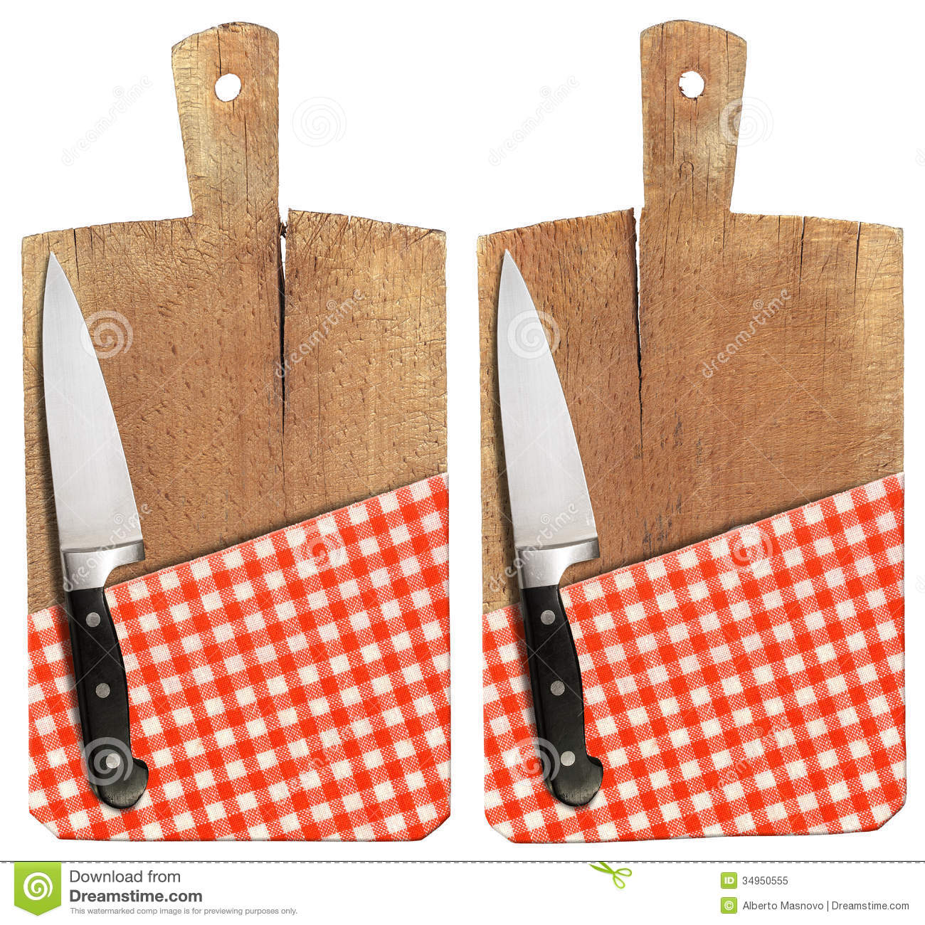 Cutting board with knife and tablecloth royalty free stock for White cutting board used for