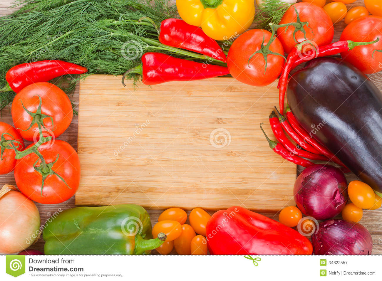 Cutting Board With Vegetables Royalty Free Stock