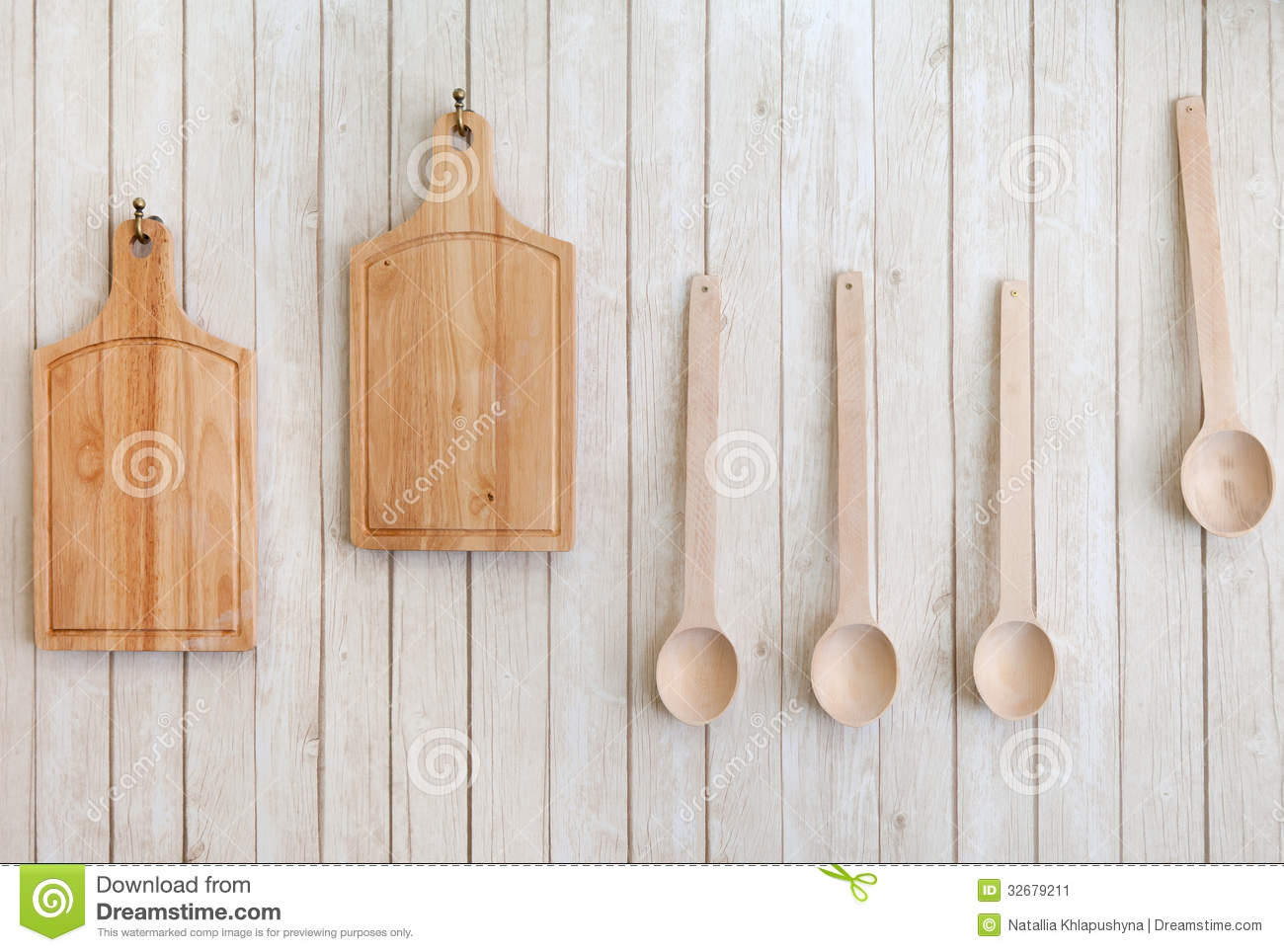Cutting Boards And Wooden Spoons Hanging On The Wall Stock Image Image Of Spoons Utensil 32679211