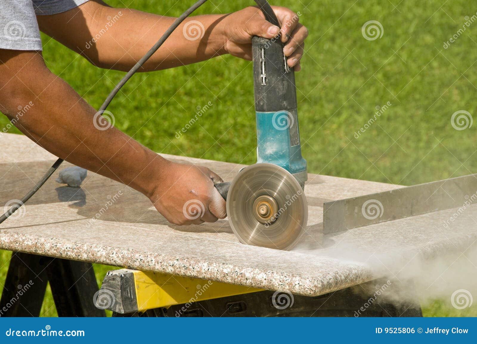Cutting Granite Countertop : Cutting Granite Countertops Royalty Free Stock Image - Image: 9525806