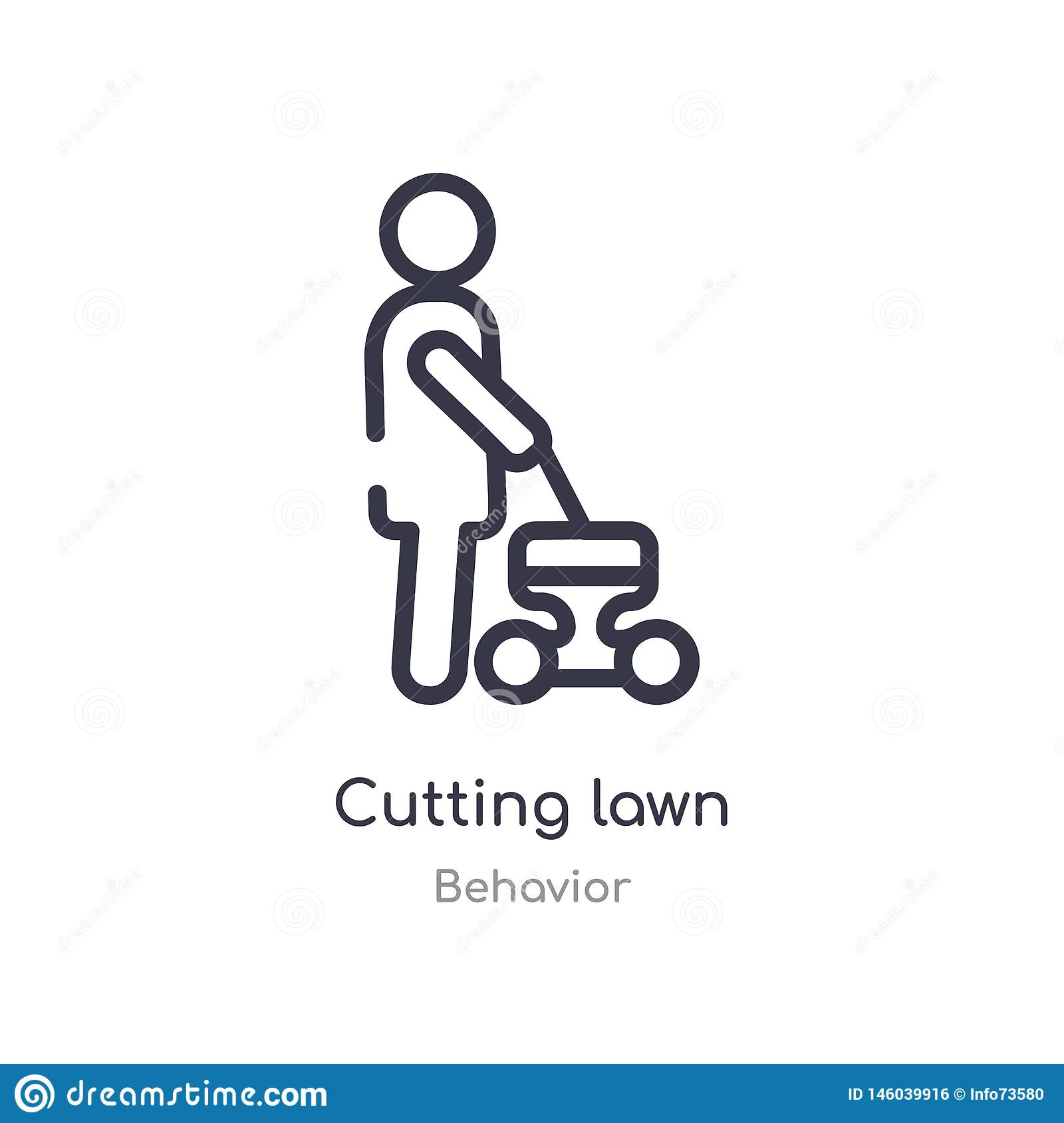 cutting lawn outline icon. isolated line vector illustration from behavior collection. editable thin stroke cutting lawn icon on