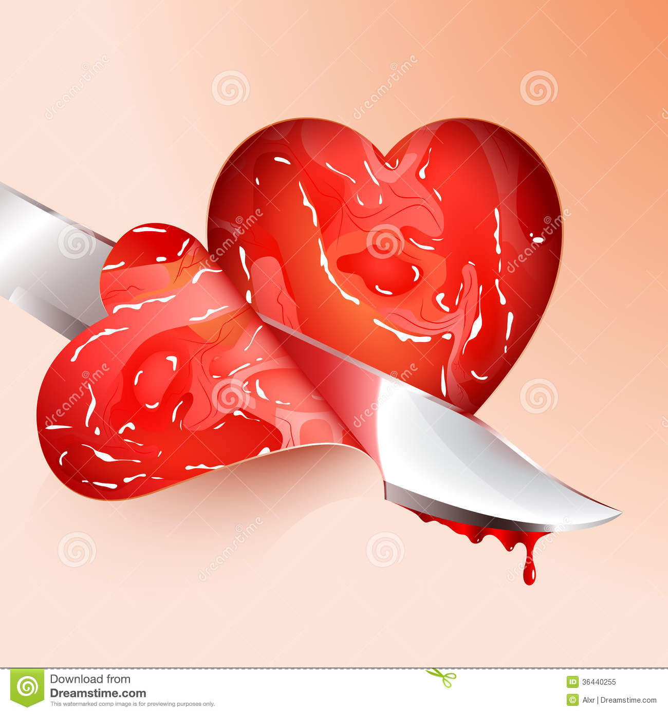 Cutting meat shape heart stock vector  Illustration of blood
